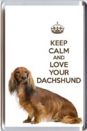 A fridge magnet with a picture of a Long Haired Dachshund Dog with the wording KEEP CALM AND LOVE YOUR DACHSHUND